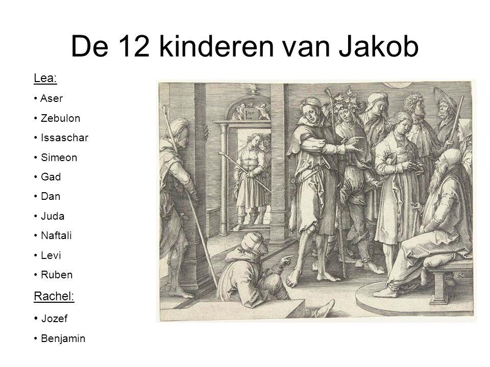 De 12 kinderen van Jakob Lea: • Aser • Zebulon • Issaschar • Simeon • Gad • Dan • Juda • Naftali • Levi • Ruben Rachel: • Jozef • Benjamin