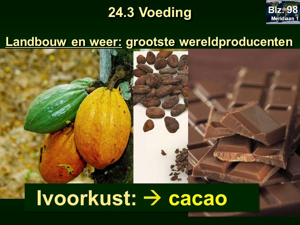 Landbouw en weer: grootste wereldproducenten Ivoorkust:  cacao 24.3 Voeding Meridiaan 1 Meridiaan 1 Blz. 98