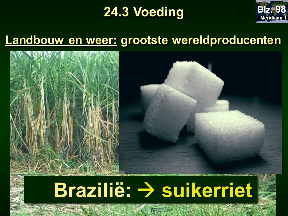 Landbouw en weer: grootste wereldproducenten Brazilië:  suikerriet 24.3 Voeding Meridiaan 1 Meridiaan 1 Blz. 98