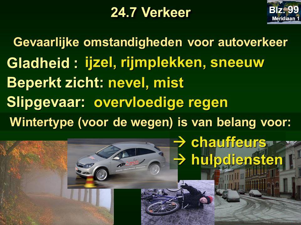 Gevaarlijke omstandigheden voor autoverkeer Gladheid : ijzel, rijmplekken, sneeuw Beperkt zicht: nevel, mist nevel, mist Slipgevaar: overvloedige rege