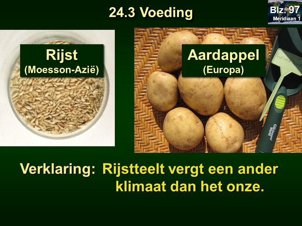 Rijst(Moesson-Azië)Rijst(Moesson-Azië) Aardappel (Europa) Verklaring: Rijstteelt vergt een ander klimaat dan het onze. 24.3 Voeding Meridiaan 1 Meridi