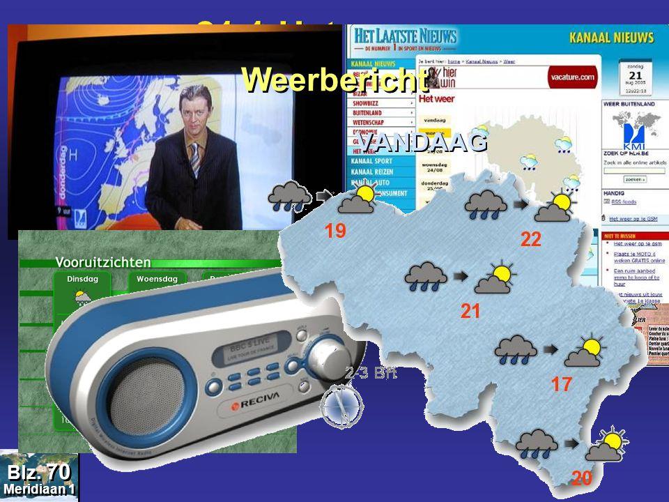 21.1 Het weer.... Meridiaan 1 Blz. 70 Weerbericht