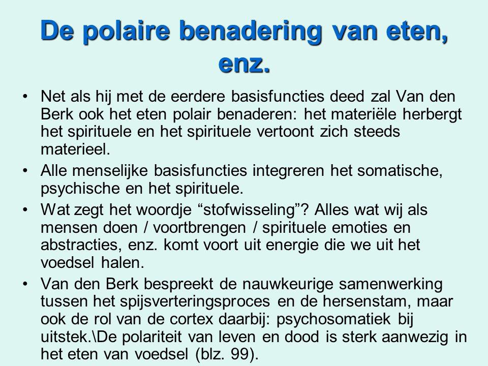 De polaire benadering van eten, enz. •Net als hij met de eerdere basisfuncties deed zal Van den Berk ook het eten polair benaderen: het materiële herb