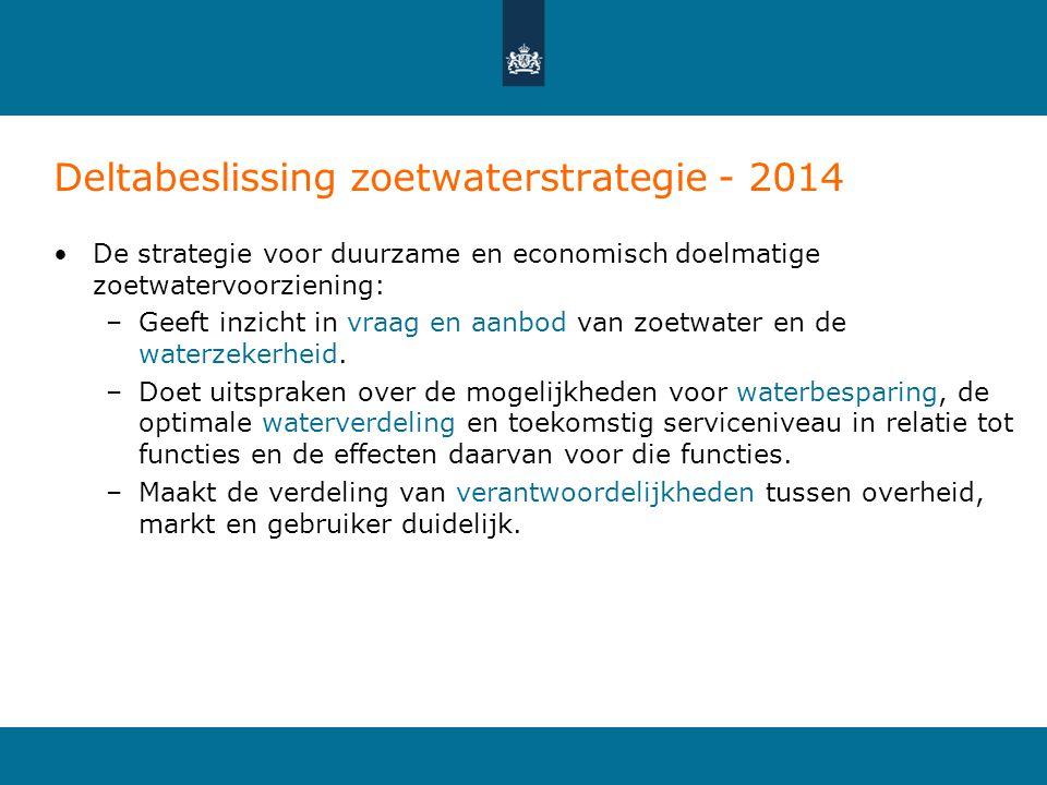 Deltabeslissing zoetwaterstrategie - 2014 •De strategie voor duurzame en economisch doelmatige zoetwatervoorziening: –Geeft inzicht in vraag en aanbod