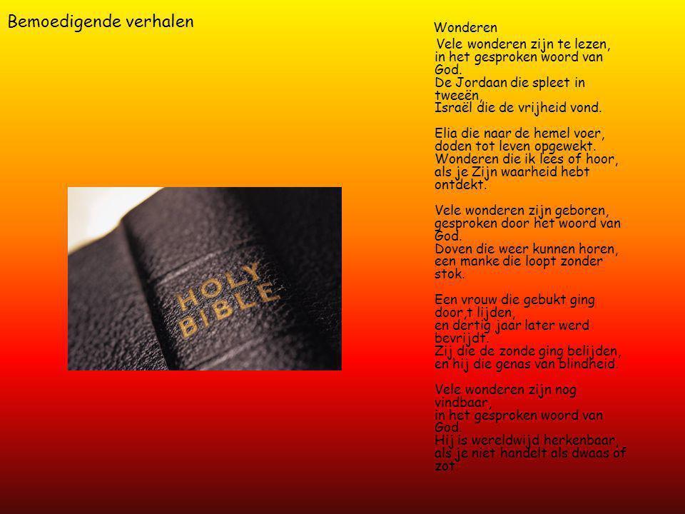 Bemoedigende verhalen Wonderen Vele wonderen zijn te lezen, in het gesproken woord van God.