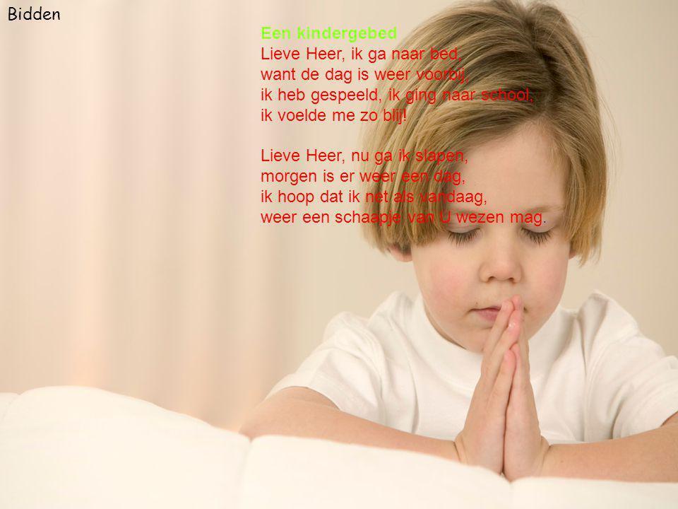 Bidden Een kindergebed Lieve Heer, ik ga naar bed, want de dag is weer voorbij, ik heb gespeeld, ik ging naar school, ik voelde me zo blij.
