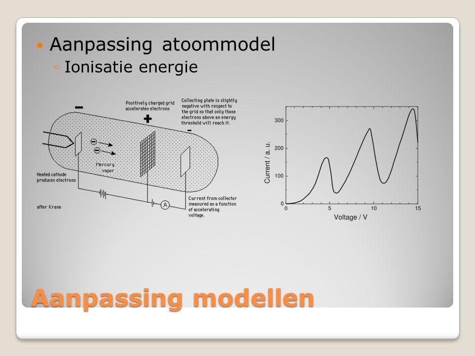 Aanpassing modellen  Aanpassing atoommodel ◦Ionisatie energie