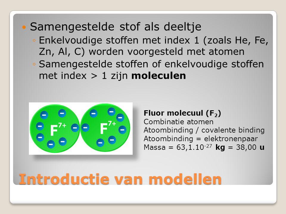 Introductie van modellen  Samengestelde stof als deeltje ◦Enkelvoudige stoffen met index 1 (zoals He, Fe, Zn, Al, C) worden voorgesteld met atomen ◦S