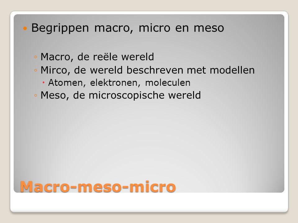 Macro-meso-micro  Begrippen macro, micro en meso ◦Macro, de reële wereld ◦Mirco, de wereld beschreven met modellen  Atomen, elektronen, moleculen ◦M