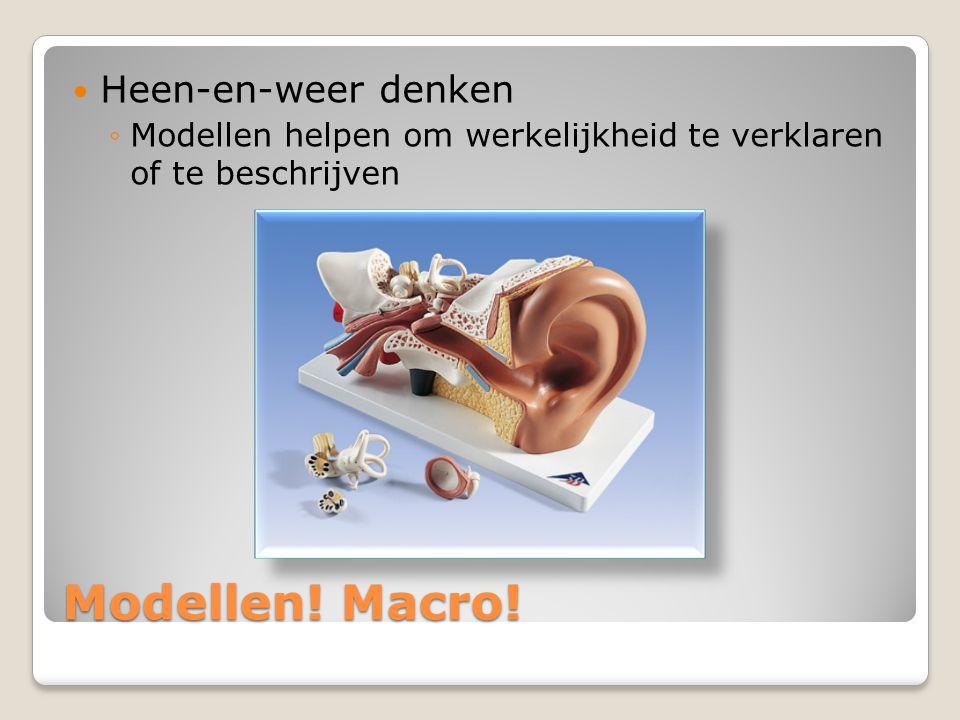 Modellen! Macro!  Heen-en-weer denken ◦Modellen helpen om werkelijkheid te verklaren of te beschrijven