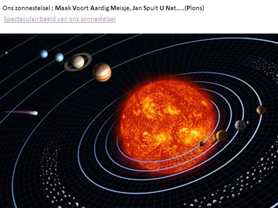 Ons zonnestelsel ; Maak Voort Aardig Meisje, Jan Spuit U Nat…..(Plons) Spectaculair beeld van ons zonnestelsel