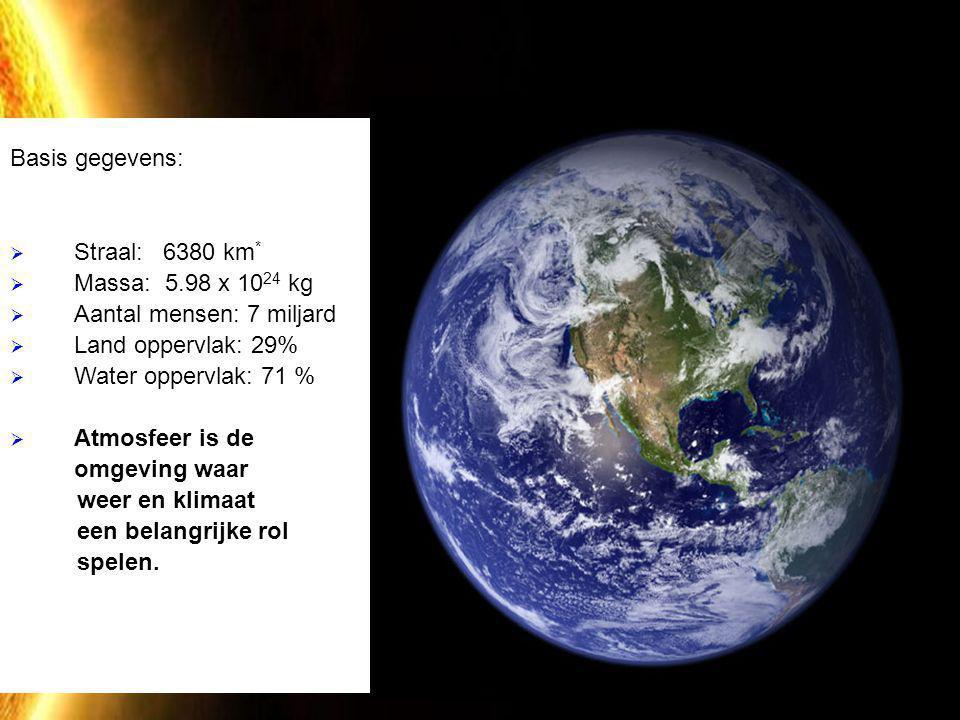 De Aarde Basis gegevens:  Straal: 6380 km *  Massa: 5.98 x 10 24 kg  Aantal mensen: 7 miljard  Land oppervlak: 29%  Water oppervlak: 71 %  Atmos