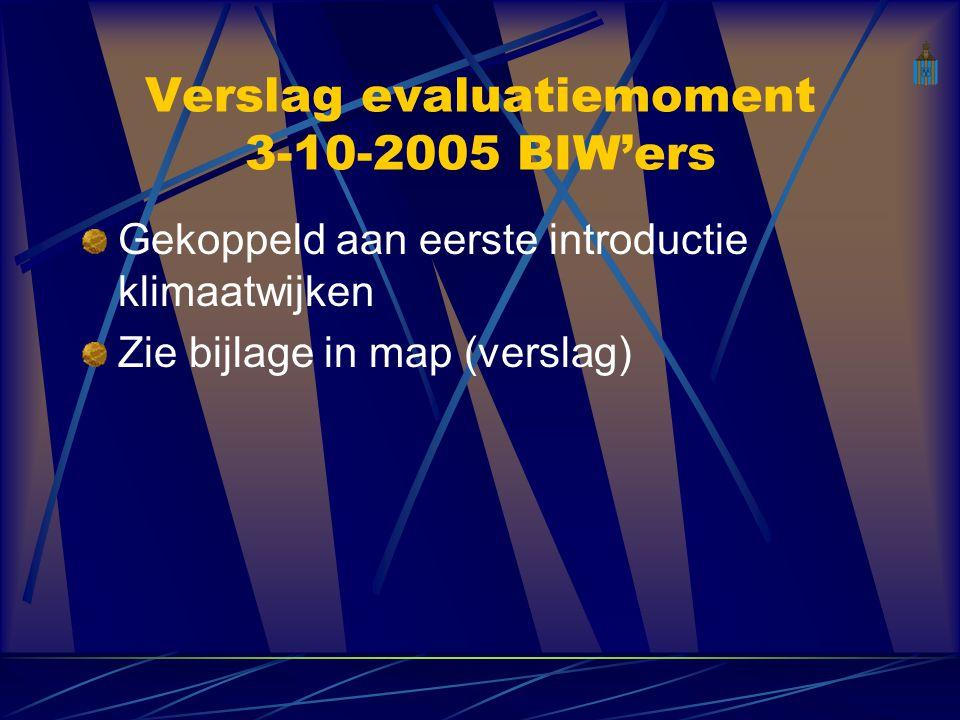 Verslag evaluatiemoment 3-10-2005 BIW'ers Gekoppeld aan eerste introductie klimaatwijken Zie bijlage in map (verslag)