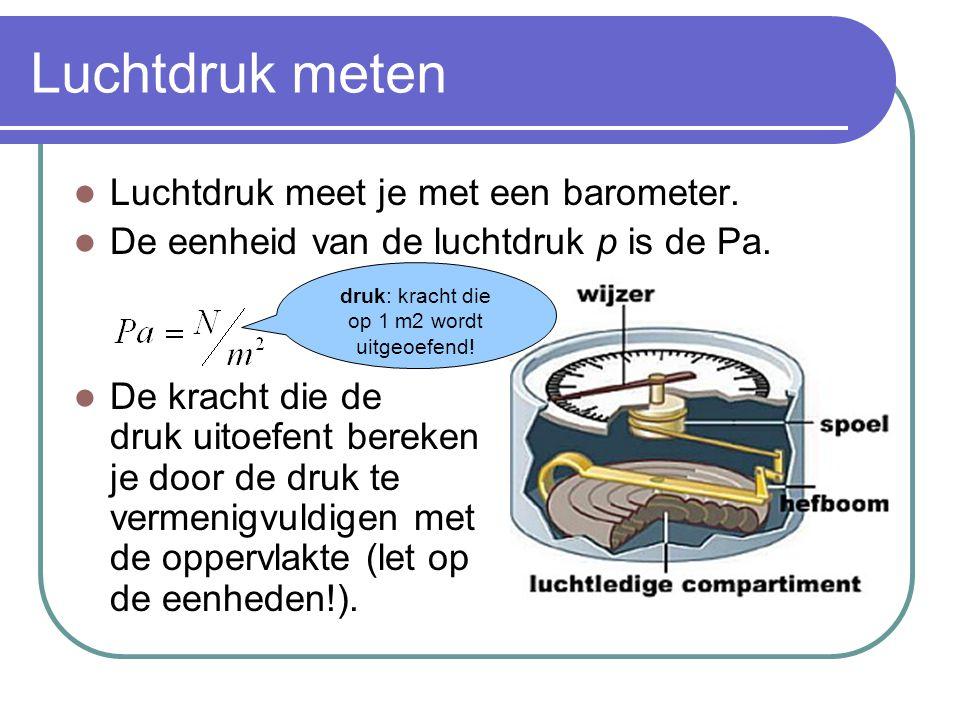 Luchtdruk meten  Luchtdruk meet je met een barometer.  De eenheid van de luchtdruk p is de Pa.  De kracht die de druk uitoefent bereken je door de