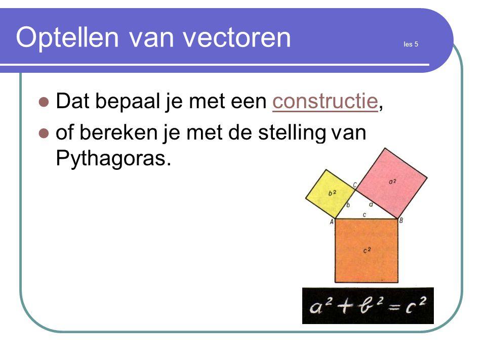 Optellen van vectoren les 5  Dat bepaal je met een constructie,constructie  of bereken je met de stelling van Pythagoras.