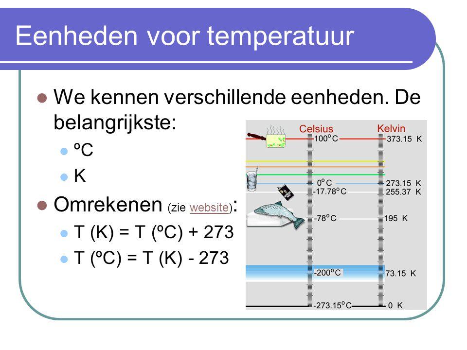 Eenheden voor temperatuur  We kennen verschillende eenheden. De belangrijkste:  ºC KK  Omrekenen (zie website) :website  T (K) = T (ºC) + 273 