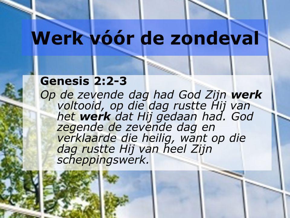 Werk vóór de zondeval Genesis 2:2-3 Op de zevende dag had God Zijn werk voltooid, op die dag rustte Hij van het werk dat Hij gedaan had. God zegende d