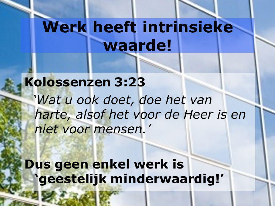Werk heeft intrinsieke waarde! Kolossenzen 3:23 'Wat u ook doet, doe het van harte, alsof het voor de Heer is en niet voor mensen.' Dus geen enkel wer