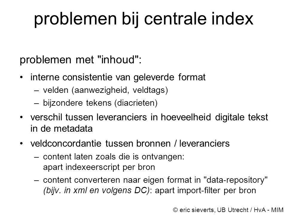 problemen bij centrale index problemen met