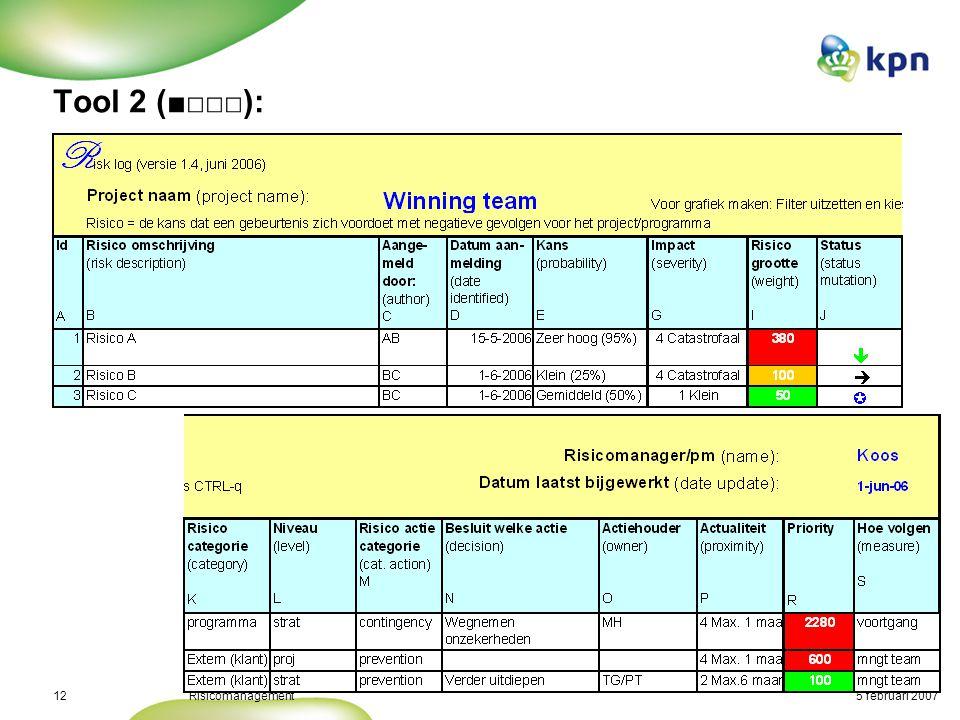 5 februari 2007Risicomanagement13 Tool 2 (□■□□):