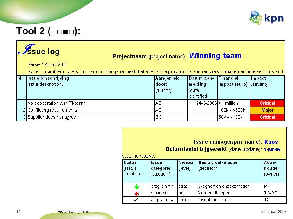 5 februari 2007Risicomanagement15 Tool 2 (□□□■):