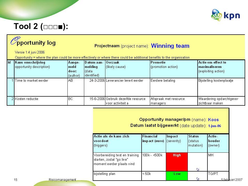 5 februari 2007Risicomanagement16 Tool 3: AS/NZS 4360 Risk register Komen ook bij andere tools voor