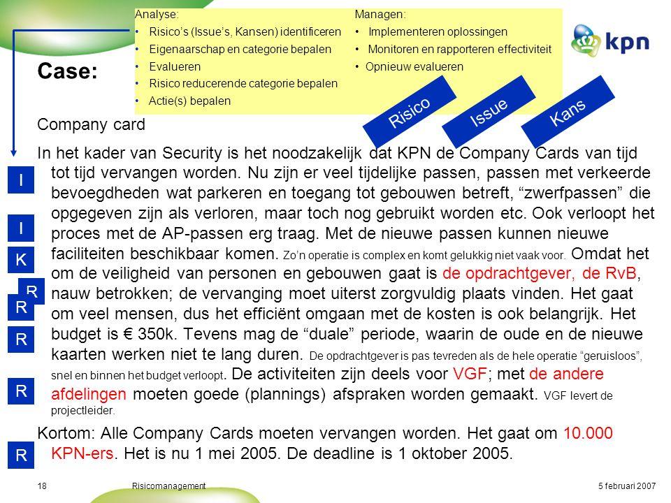 5 februari 2007Risicomanagement19 Case: Risico omschrijvingImpactKansGebiedActie- houder Actieprio 1.