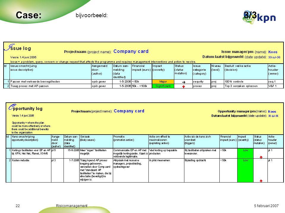 5 februari 2007Risicomanagement23 Conclusie: •Risicomanagement en Projectmanagement horen bij elkaar •Hoe zwaarder een project hoe explicieter aan risicomanagement gedaan moet worden (coördinatie) •Gebruik bestaande tools als hulpmiddel bij risicomanagement •….