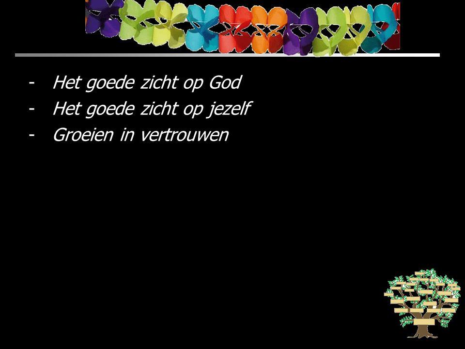 -Het goede zicht op God -Het goede zicht op jezelf -Groeien in vertrouwen