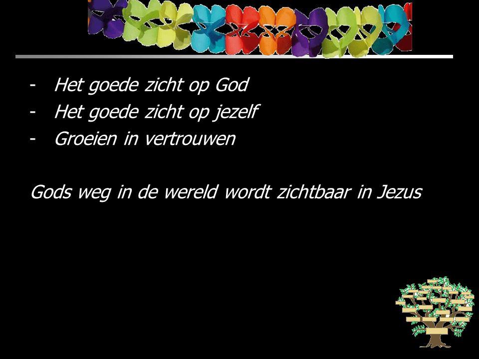 -Het goede zicht op God -Het goede zicht op jezelf -Groeien in vertrouwen Gods weg in de wereld wordt zichtbaar in Jezus
