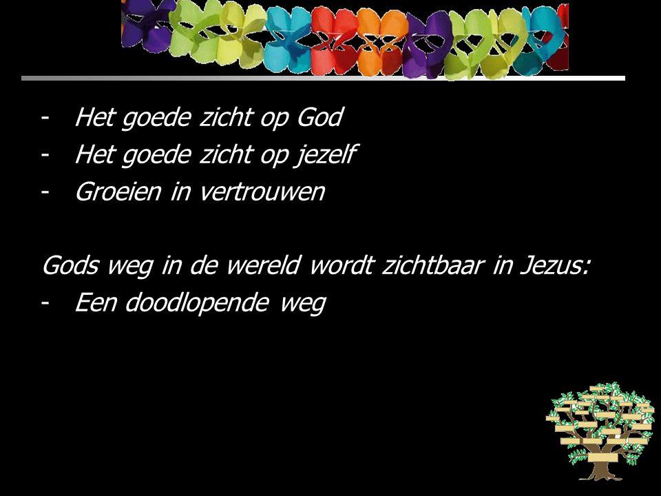-Het goede zicht op God -Het goede zicht op jezelf -Groeien in vertrouwen Gods weg in de wereld wordt zichtbaar in Jezus: -Een doodlopende weg