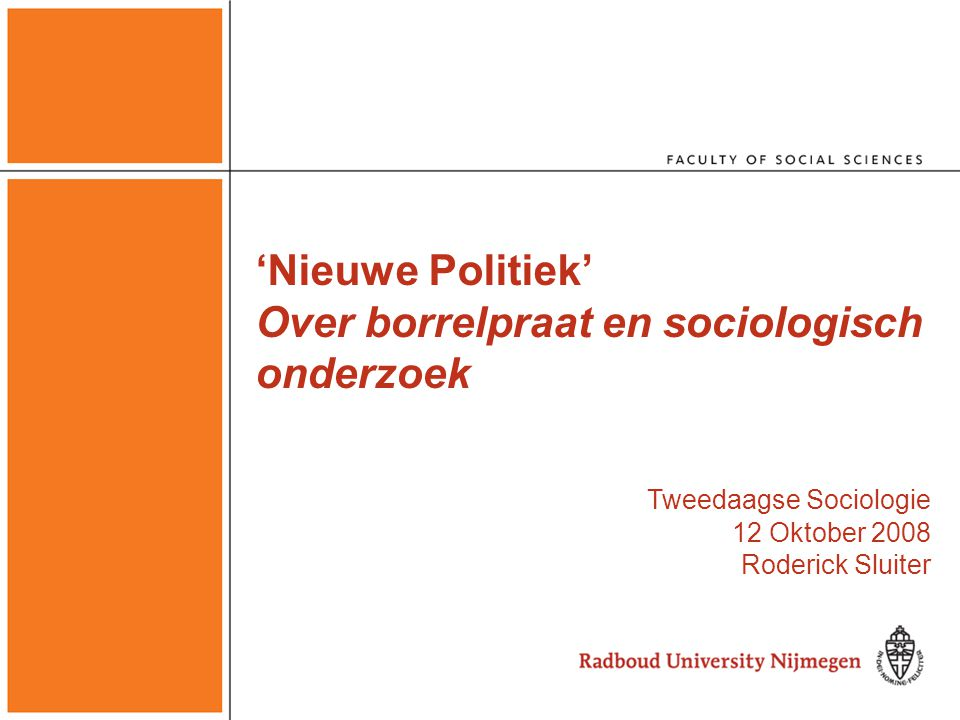 'Nieuwe Politiek' Over borrelpraat en sociologisch onderzoek Tweedaagse Sociologie 12 Oktober 2008 Roderick Sluiter