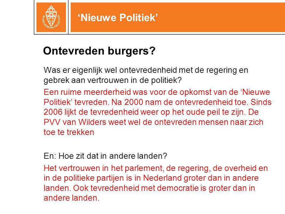 'Nieuwe Politiek' Was er eigenlijk wel ontevredenheid met de regering en gebrek aan vertrouwen in de politiek.