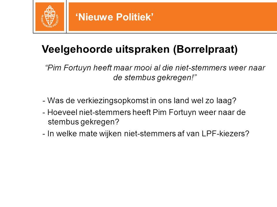 'Nieuwe Politiek' Pim Fortuyn heeft maar mooi al die niet-stemmers weer naar de stembus gekregen! - Was de verkiezingsopkomst in ons land wel zo laag.