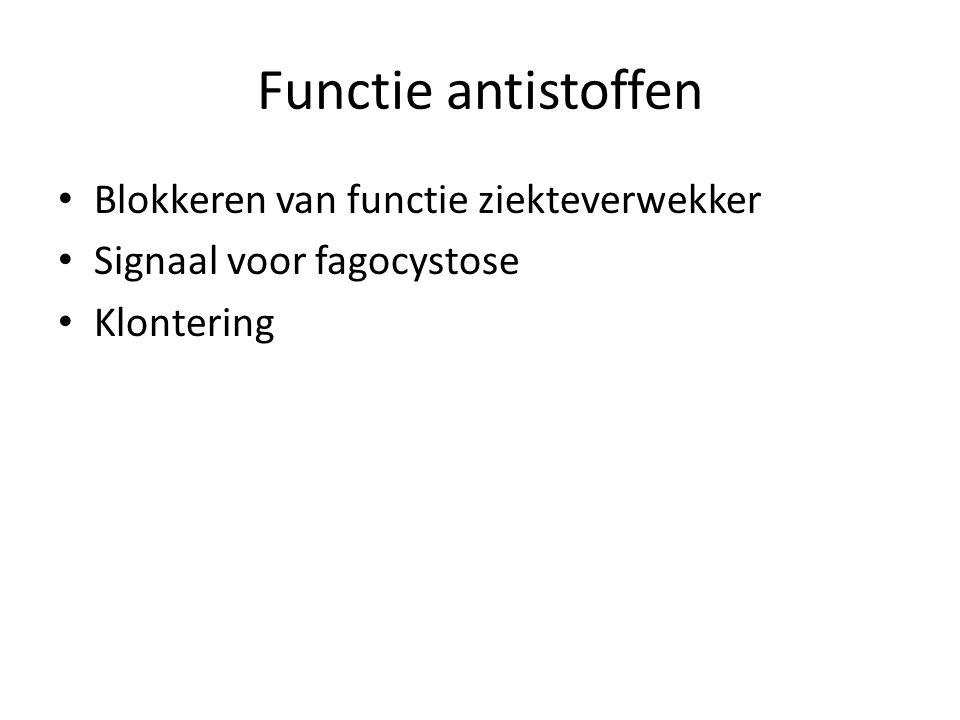 Functie antistoffen • Blokkeren van functie ziekteverwekker • Signaal voor fagocystose • Klontering