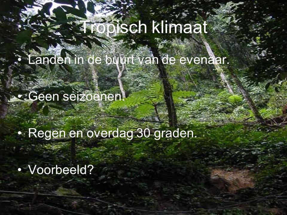 Tropisch klimaat •L•Landen in de buurt van de evenaar. •G•Geen seizoenen. •R•Regen en overdag 30 graden. •V•Voorbeeld?