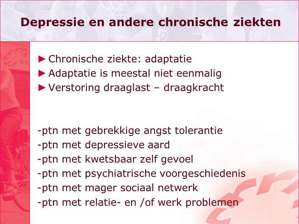 Depressie en andere chronische ziekten ► Chronische ziekte: adaptatie ► Adaptatie is meestal niet eenmalig ► Verstoring draaglast – draagkracht -ptn m