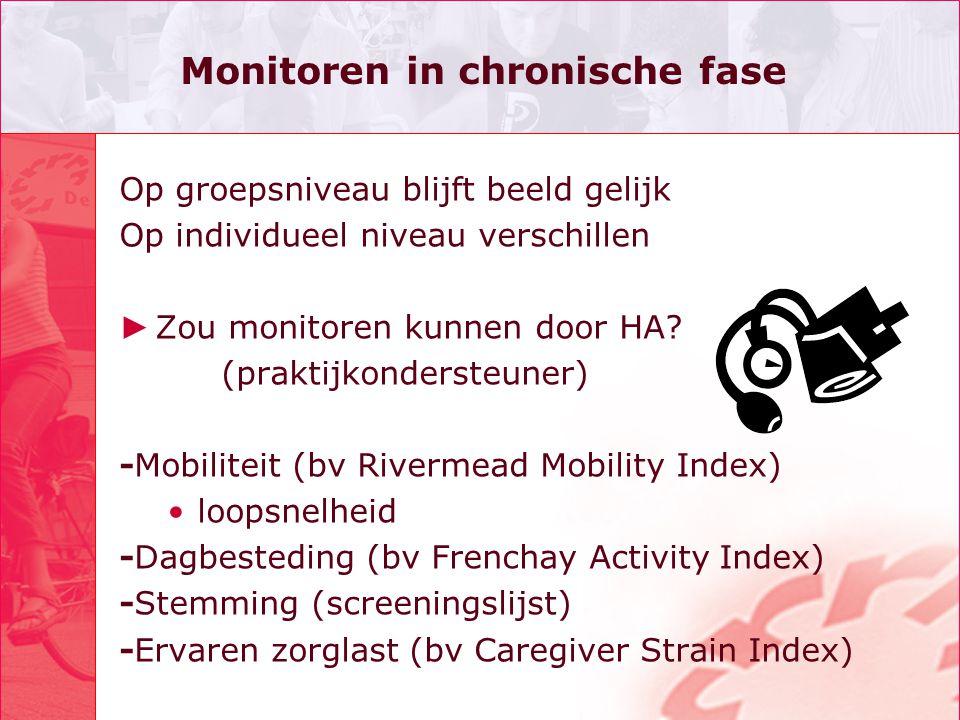 Monitoren in chronische fase Op groepsniveau blijft beeld gelijk Op individueel niveau verschillen ► Zou monitoren kunnen door HA? (praktijkondersteun