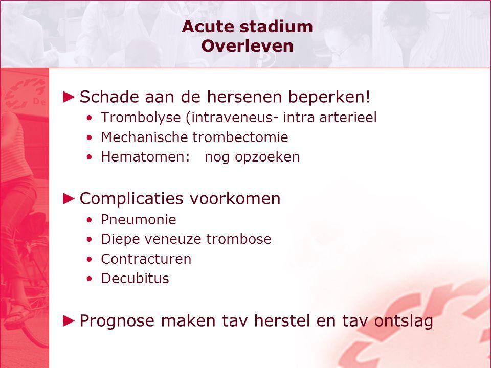 Acute stadium Overleven ► Schade aan de hersenen beperken! •Trombolyse (intraveneus- intra arterieel •Mechanische trombectomie •Hematomen: nog opzoeke