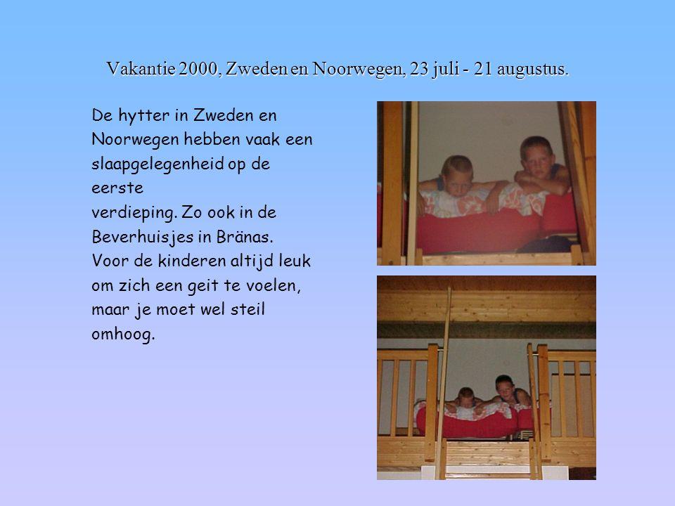 Vakantie 2000, Zweden en Noorwegen, 23 juli - 21 augustus. De hytter in Zweden en Noorwegen hebben vaak een slaapgelegenheid op de eerste verdieping.