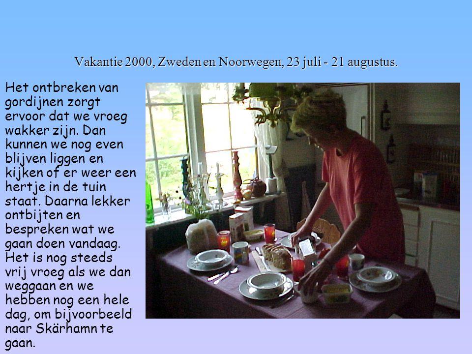Vakantie 2000, Zweden en Noorwegen, 23 juli - 21 augustus. Het ontbreken van gordijnen zorgt ervoor dat we vroeg wakker zijn. Dan kunnen we nog even b