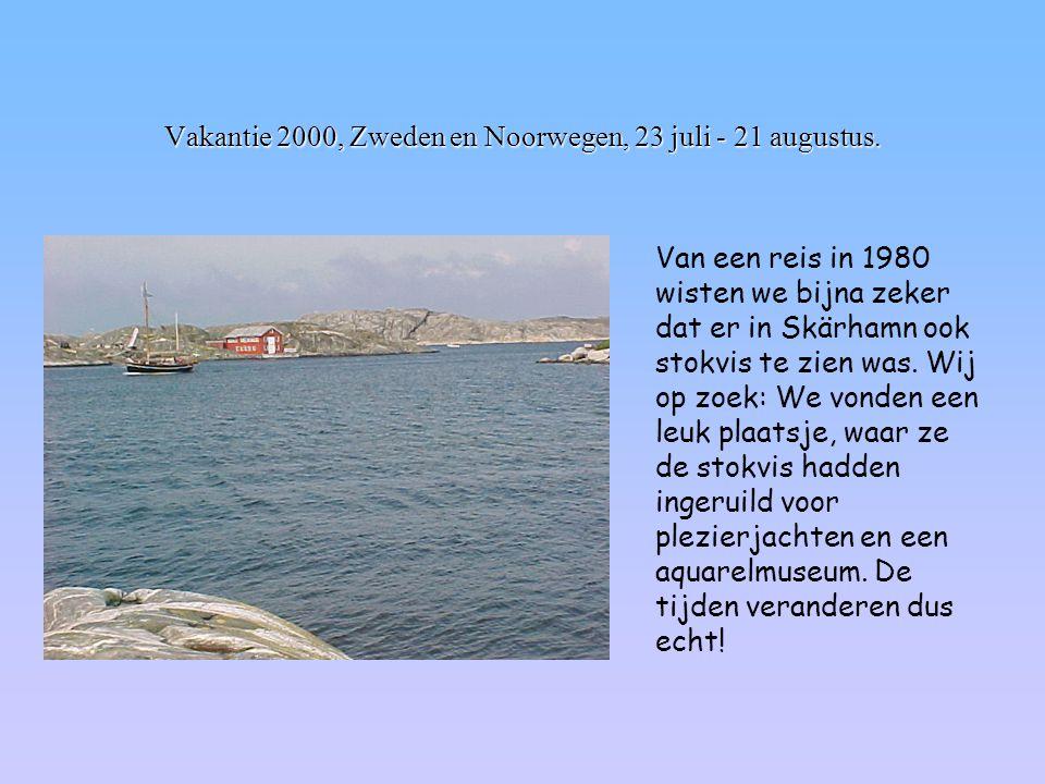 Vakantie 2000, Zweden en Noorwegen, 23 juli - 21 augustus. Van een reis in 1980 wisten we bijna zeker dat er in Skärhamn ook stokvis te zien was. Wij