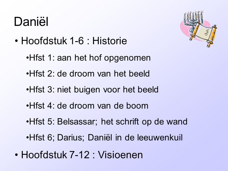 Daniël • Hoofdstuk 1-6 : Historie •Hfst 1: aan het hof opgenomen •Hfst 2: de droom van het beeld •Hfst 3: niet buigen voor het beeld •Hfst 4: de droom van de boom •Hfst 5: Belsassar; het schrift op de wand •Hfst 6; Darius; Daniël in de leeuwenkuil • Hoofdstuk 7-12 : Visioenen