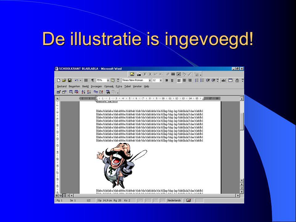 Tekstomloop VIERKANT De tekst is nu vierkant om de illustratie geplaatst Selecteer de illustratie door erop te klikken Klik weer op het hondenicoontje Kies de optie Rondom (zie volgende dia)