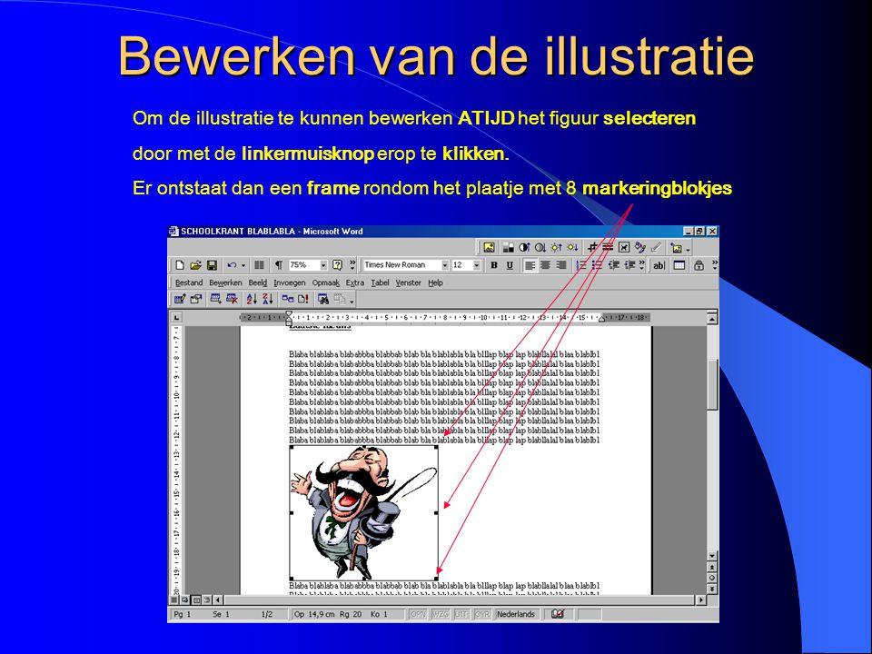 Tekstomloop RONDOM De tekst is nu rondom om de illustratie geplaatst Selecteer de illustratie door erop te klikken Klik weer op het hondenicoontje Kies de optie Achter tekst (zie volgende dia)