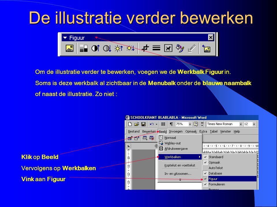 Tekstomloop VOOR TEKST De illustratie is nu voor de tekst geplaatst Selecteer de illustratie door erop te klikken Klik weer op het hondenicoontje Kies de optie Boven en onder (zie volgende dia)