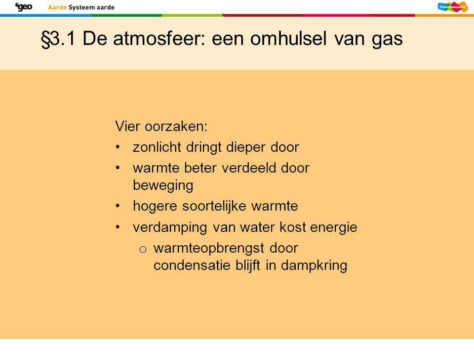 §3.1 De atmosfeer: een omhulsel van gas Vier oorzaken: •zonlicht dringt dieper door •warmte beter verdeeld door beweging •hogere soortelijke warmte •v