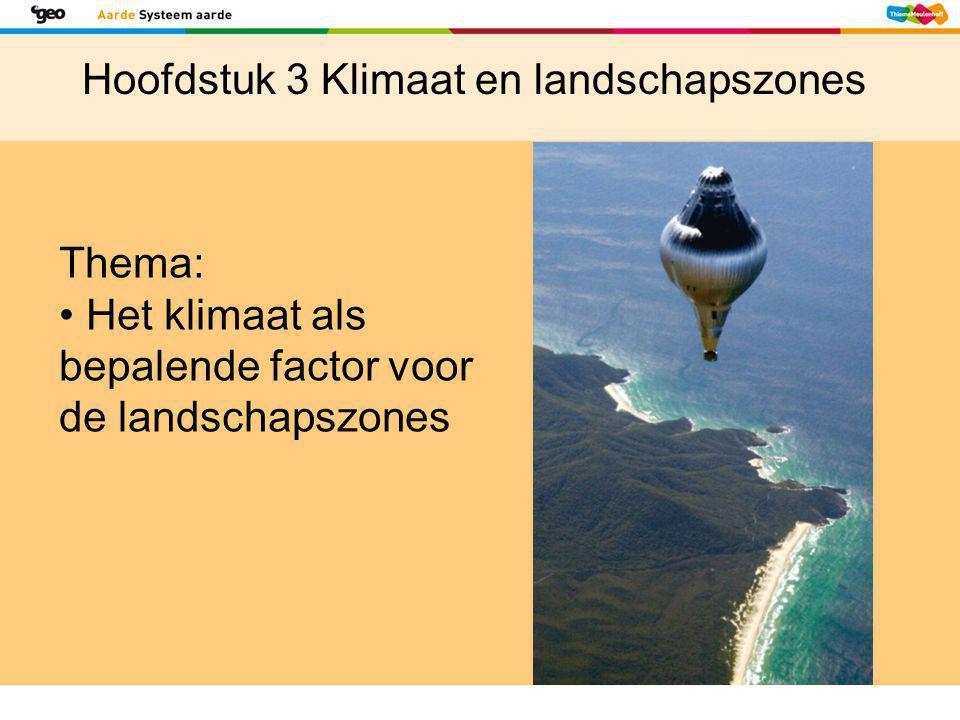Thema: • Het klimaat als bepalende factor voor de landschapszones