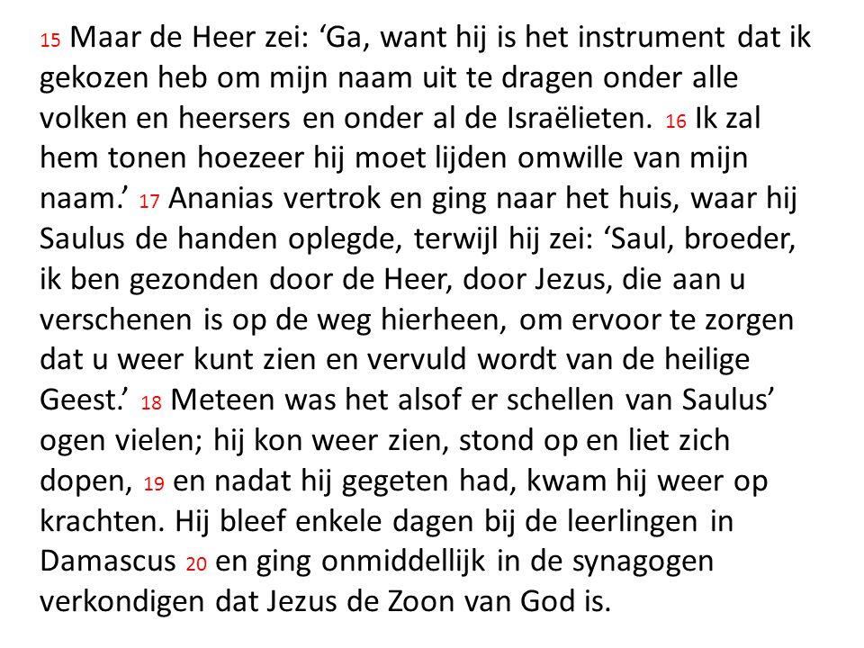 15 Maar de Heer zei: 'Ga, want hij is het instrument dat ik gekozen heb om mijn naam uit te dragen onder alle volken en heersers en onder al de Israël