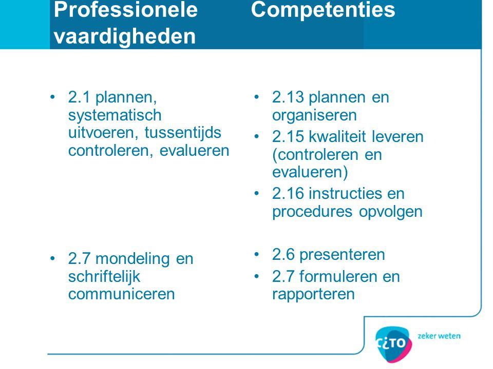 ProfessioneleCompetenties vaardigheden •2.1 plannen, systematisch uitvoeren, tussentijds controleren, evalueren •2.7 mondeling en schriftelijk communi